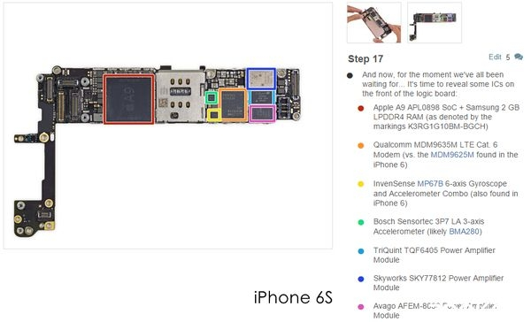 U00bb Teardown Of Iphone 6s Shows Dual Sources Of A9 Chips